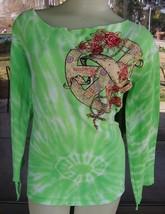 ☮ Awesome Back Ties Green Tye Dye Peace Sign, Roses & Rhinestones Shirt ... - $14.84