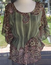 New Butterfly Sleeves Elastic Waist Sheer Blouse & Attached Cami Sz. XS ... - $12.86