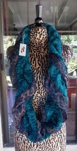 New Leopard Print Fake Fur Blend Infenity Pretty Angel Turquoise Scarf - $18.80