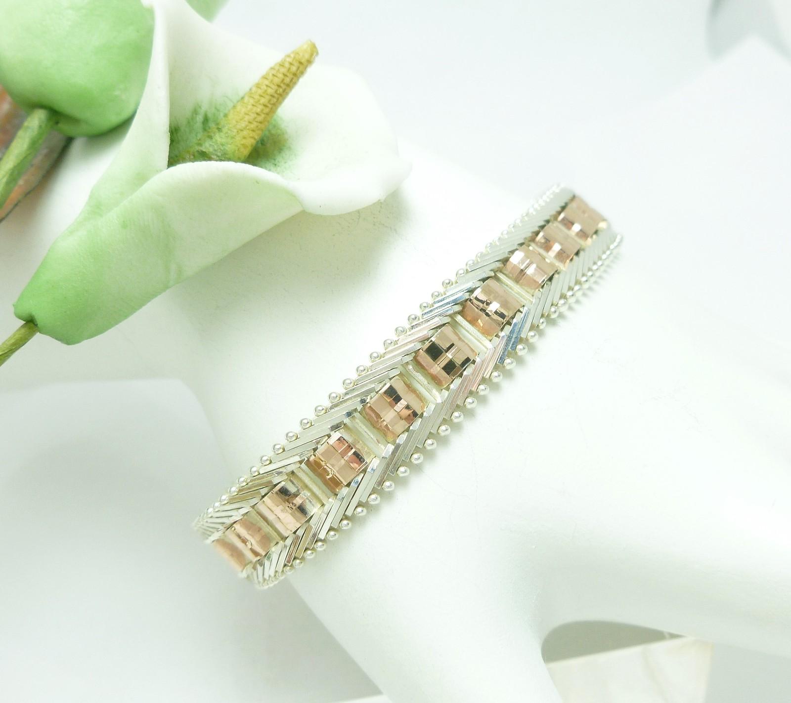 "Sterling Silver Two-Tone Mosaic Riccio Bracelet 6.75"" Small Wrist"