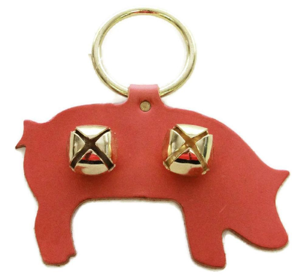 Primary image for PIG DOOR CHIME - PINK LEATHER w/ SLEIGH BELLS - Amish Handmade in the USA