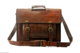 Genuine Vintage Leather Messenger Laptop Briefcase Satchel Brown shoulde... - $43.90
