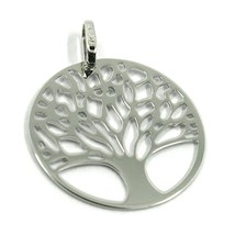 9K WHITE GOLD PENDANT, FLAT TREE OF LIFE, DISC DIAMETER 17 MM, 0.67 INCHES image 1