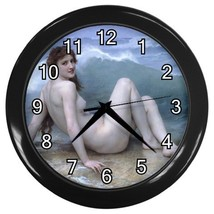 Beauty Love William Bouguereau The Wave Wall Clock (Black) Gift model 30... - $18.99