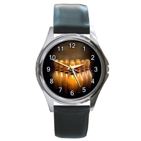 Bowling Sports Unisex Round Metal Watch Gift model 26424311