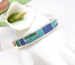 Stoneform Turquoise Malachite and Lapis Inlay Cuff Bracelet  - $69.00