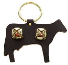 COW DOOR CHIME - DARK BROWN LEATHER w/ SLEIGH BELLS - Amish Handmade in ... - $19.77