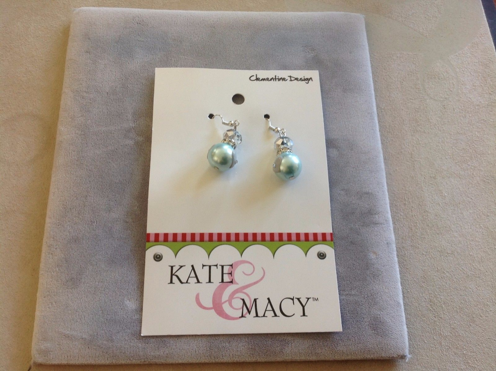New Kate and Macy Clementine Design Earrings Baby Blue Dazzle Gems Hearts