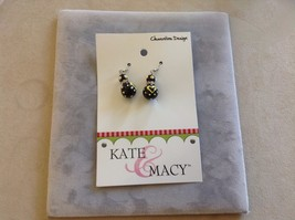 New Kate and Macy Clementine Design Earrings Queen Bee Hearts Dots Black Yellow