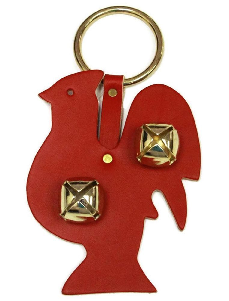 Primary image for RED ROOSTER DOOR CHIME - LEATHER w/ SLEIGH BELLS - Amish Handmade in the USA