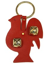 RED ROOSTER DOOR CHIME - LEATHER w/ SLEIGH BELLS - Amish Handmade in the... - $19.77
