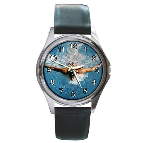 Butterfly Swimming Unisex Round Metal Watch Gift model 17863765