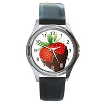 Chocolade Strawberry Unisex Round Metal Watch Gift model 17195517 - $13.99