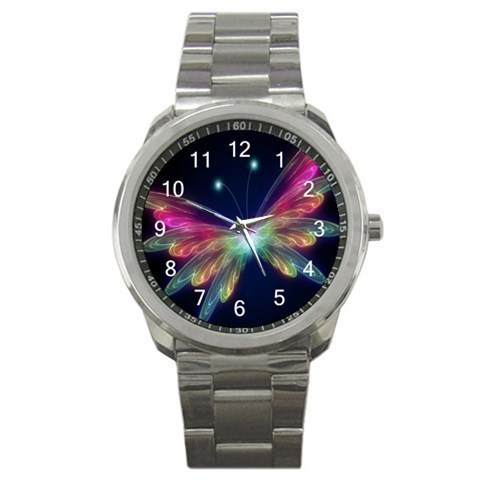 Colorful Neon Butterfly Sport Metal Watch model 32049390