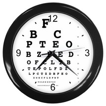 Eye Vision Chart Check Ophthalmology Decorative Wall Clock (Black) Gift ... - $18.99