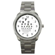 Eye Vision Chart Check Ophthalmology Sport Metal Watch Gift model 32049405 - $15.99