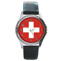 Flag Of Swizerland Unisex Round Metal Watch Gift model 16351729 - $13.99