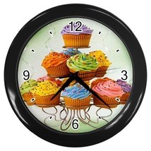 Food Dessert Cupcakes Decorative Wall Clock (Black) Gift model 32047305 - $18.99