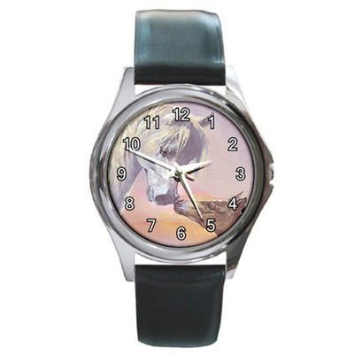 Horse Kisses Unisex Round Metal Watch Gift model 17000145