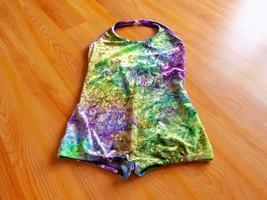 Child Size Large I.W. 2015 Velour Tie Dye Unitard Leotard Purple Green S... - $18.00