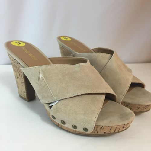 "Nine West McLaren Beige Platform Slide Size 9 NEW Leather Cork Wedge 4"" Heel"