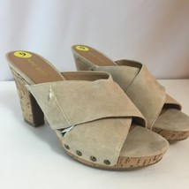 "Nine West McLaren Beige Platform Slide Size 9 NEW Leather Cork Wedge 4"" ... - $39.55"