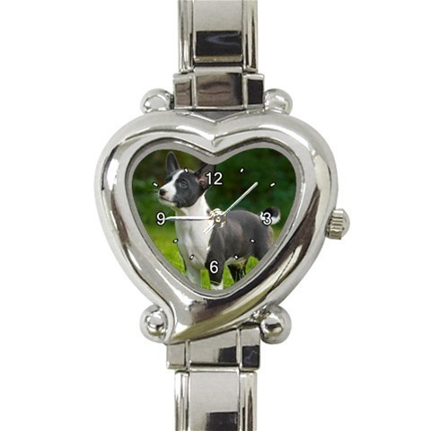 Ladies Heart Italian Charm Bracelet Watch Basenji Puppy Dog Pet Gift 26412326