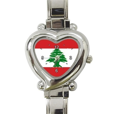 Ladies Heart Italian Charm Bracelet Watch Lebanese Flag Gift model 15130675