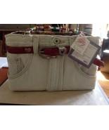 New Bootie Bag Light Denim Exterior Floral Patterned Interior Beaded Han... - $90.08