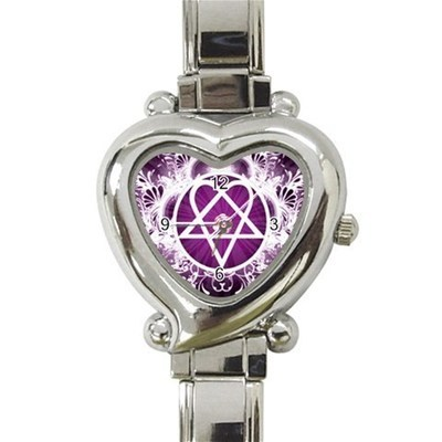 Ladies Heart Italian Charm Bracelet Watch Pink Heartagram Gift model 19483049