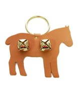 LEATHER HORSE DOOR CHIME w/ SLEIGH BELLS - TAN ... - $18.67
