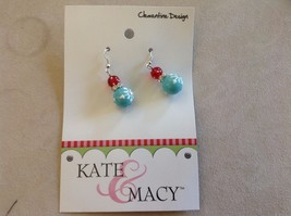 New Kate and Macy Light Blue Red Snow Fun Clementine Design Earrings