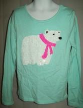 Children's Place Girls Top Sz M 7 8 Blue Sequin Polar Bear Shirt Casual ... - $16.82