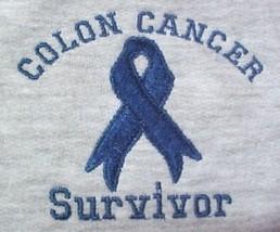 Colon Cancer Sweatshirt Blue Ribbon SURVIVOR 5X Gray Awareness Unisex New - $29.37