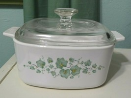 Vintage Corning Callaway Green Ivy 1.5 Liter white Casserole Dish W/ Lid A-1.5-B - $28.02