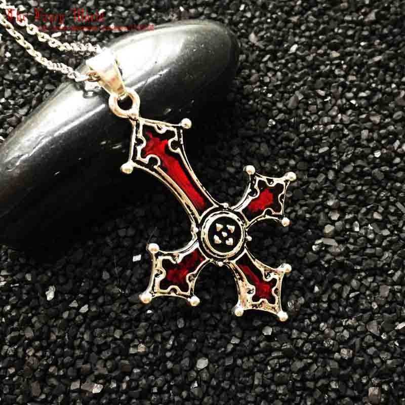 Red Bloody Inverted Cross Pendant Necklace Vintage Gothic cross pendant necklace