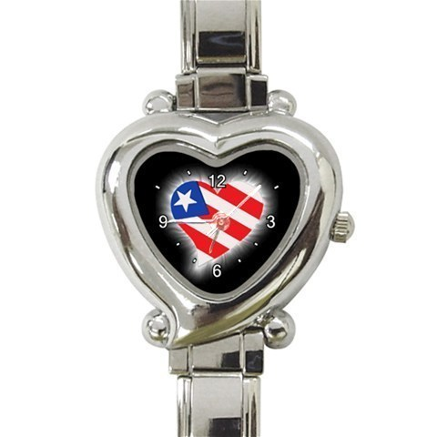 Ladies Heart Italian Charm Watch American Flag Patriotic Gift model 26425666