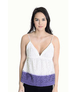 S Wren Anthropologie White/Purple Spaghetti Str... - $21.03