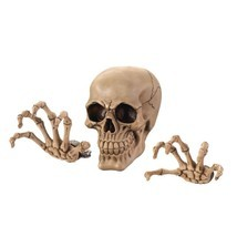 Spooky Ghoulish Skull Head and Shackled Hands 3D Scary Halloween Wall Decor - ₨2,889.26 INR