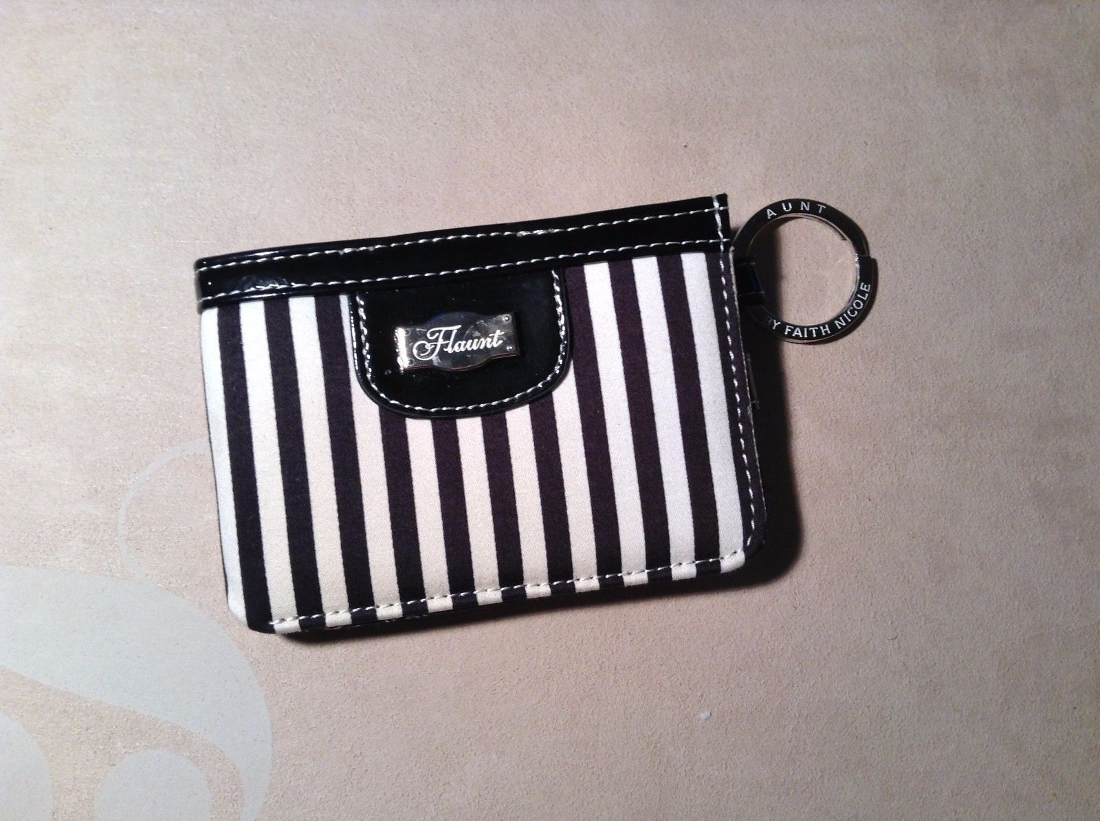 New Faith Nicole Flaunt Wallet Black White Stripes Two Folded Three Card Holder