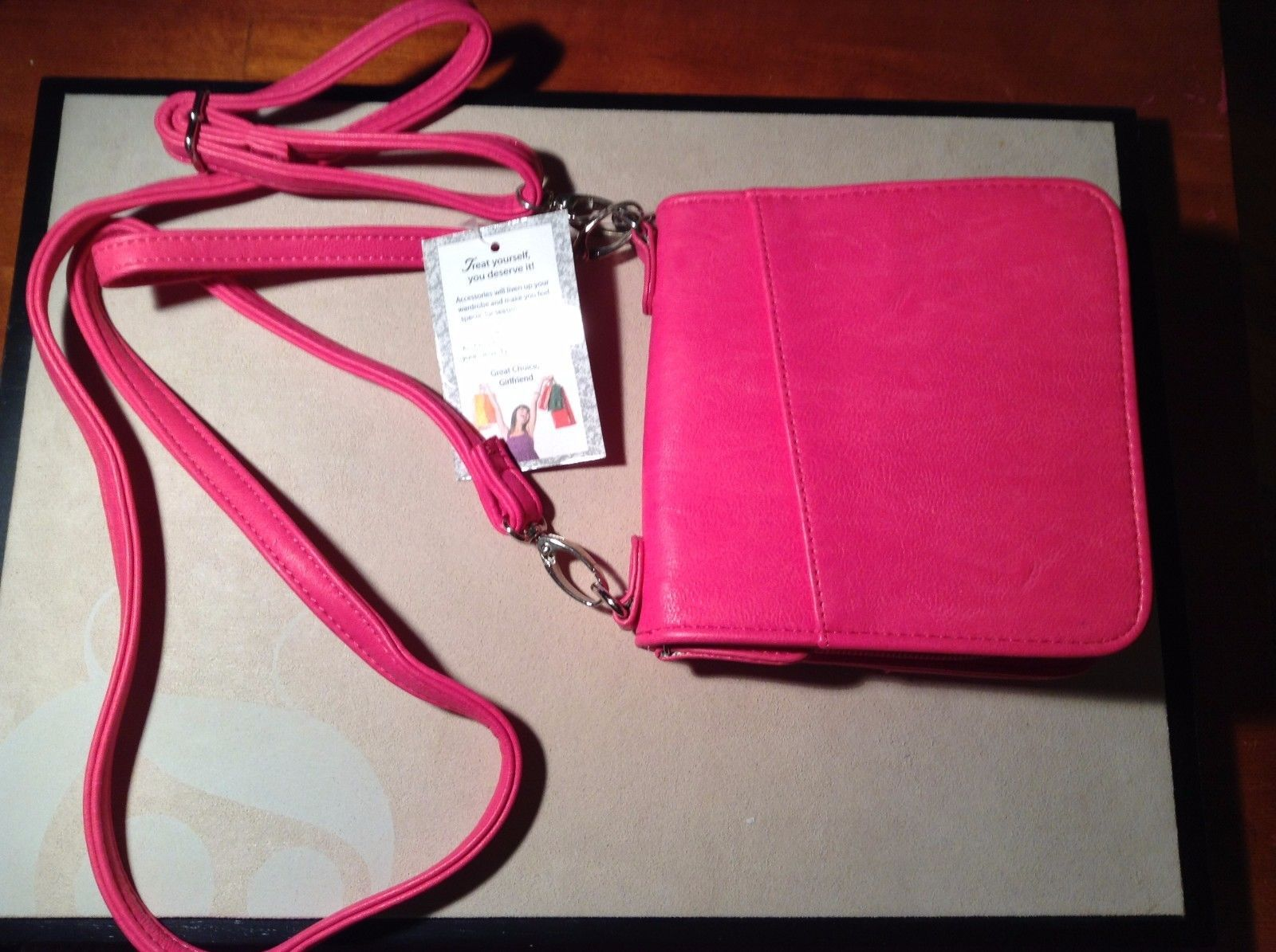 New Kristine Hot Pink Wallet 4 Card Holders Detachable Long And Short Handles