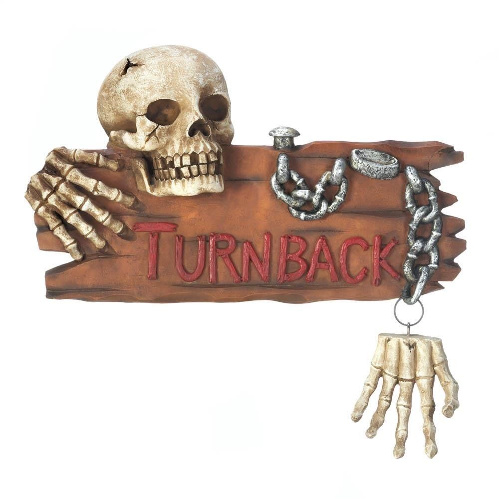 Spooky Ghoulish Skull and Hands Chained TURN BACK Warning Halloween Wall Decor