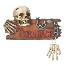 Spooky Ghoulish Skull and Hands Chained TURN BACK Warning Halloween Wall... - ₨2,888.83 INR