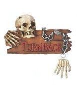 Spooky Ghoulish Skull and Hands Chained TURN BACK Warning Halloween Wall... - $44.50