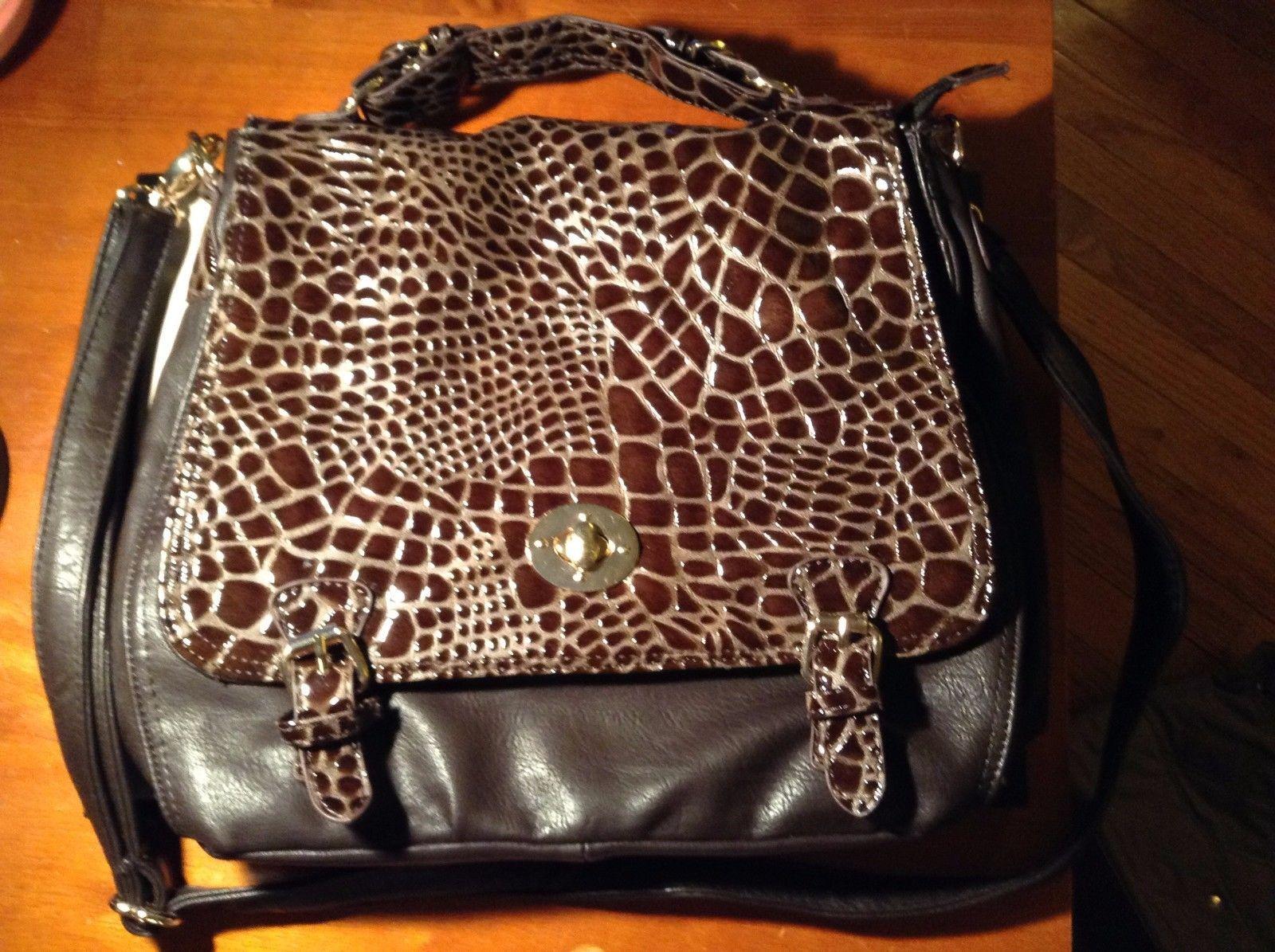 New Alexis Fashion Coffee Brown Reptile Pattern Purse Dark Brown Large