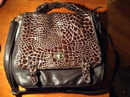 New Alexis Fashion Coffee Brown Reptile Pattern Purse Dark Brown Large