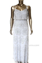 Adrianna Papell New Blue Spaghetti Strap Cross-Back Blouson Beaded Gown 12  $347 - $159.00