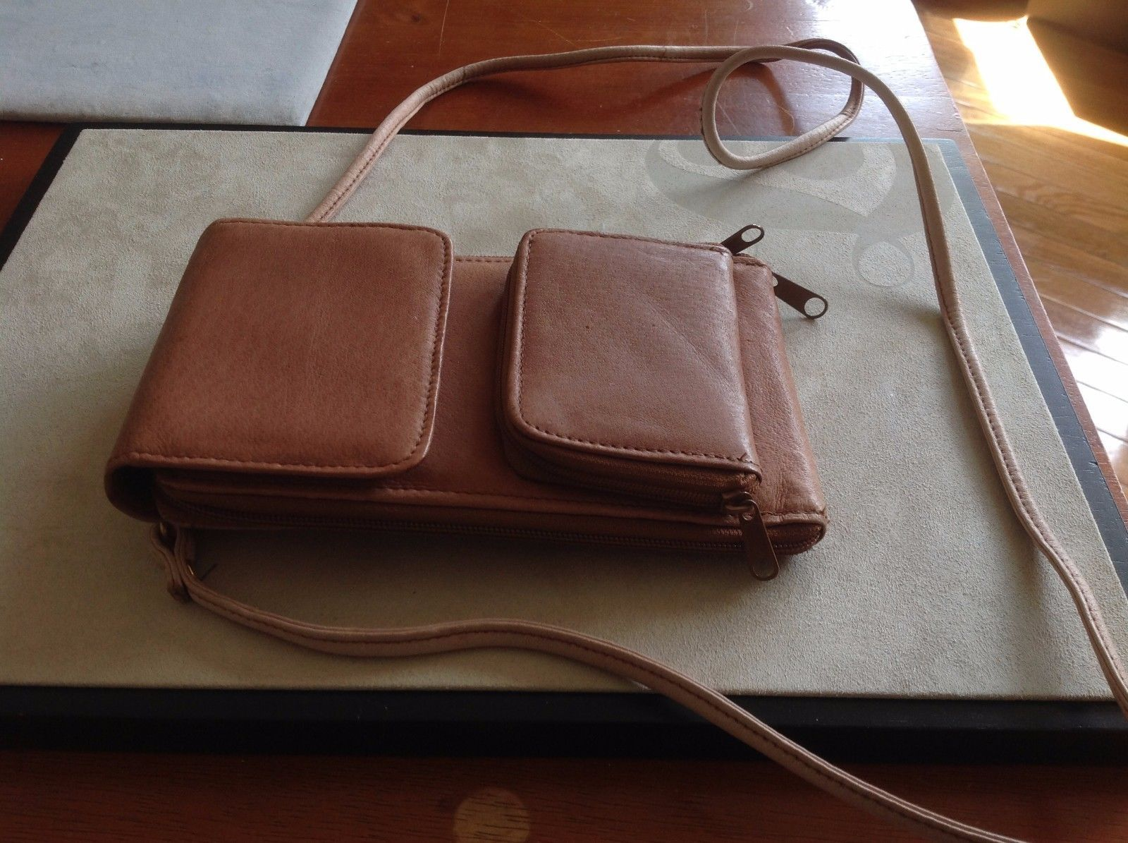 New Faded Brown Genuine Leather Wallet Trifold Buttons