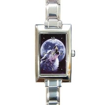 Ladies Rectangular Italian Charm Watch Howling Wolf Gift model 17733108 - $11.99
