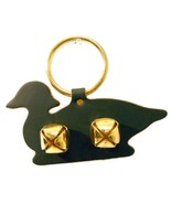 GREEN WOOD DUCK DOOR CHIME - LEATHER w/ SLEIGH BELLS - Amish Handmade in... - $19.57